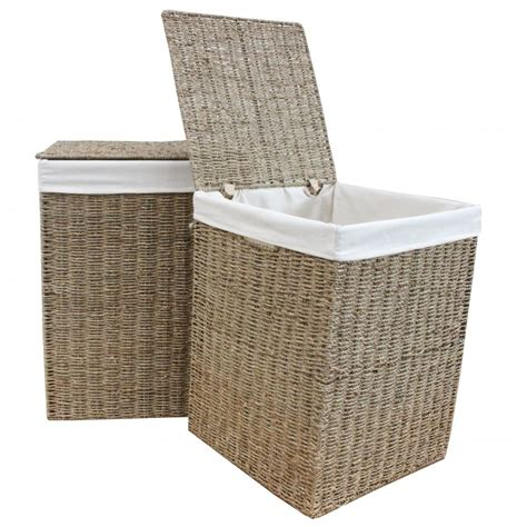 seagrass laundry seagrass square laundry basket lined