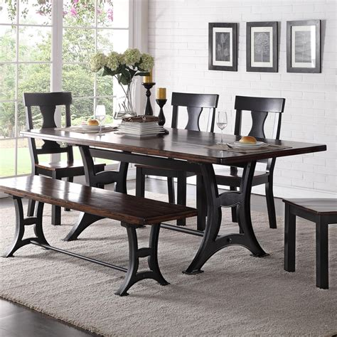 Industrial Dining Room Furniture Crown Astor Industrial Dining Table With Trestle Base And Rustic Top Wayside Furniture