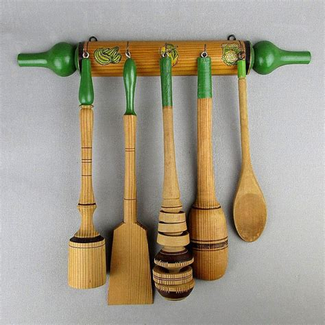 Hanging Utensil Rack For Kitchen by Vintage Wood Kitchen Set Hanging Rack W 5 Utensils Ready