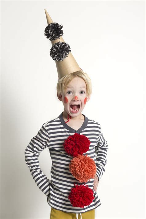 happy clown costume diy  pompoms  cone hat mer