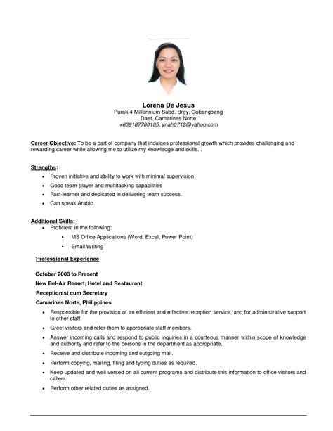 sle of resume for ojt computer secretarial sales resume resume ideas