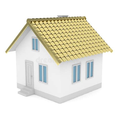 home design 3d gold roof white house with golden roof 3d rendering stock