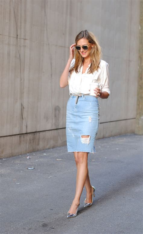 found denim pencil skirt see find and wear see