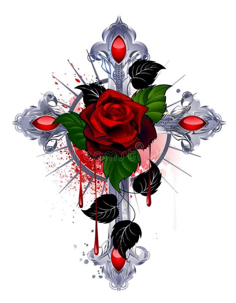 cross with a red rose stock vector illustration of paint
