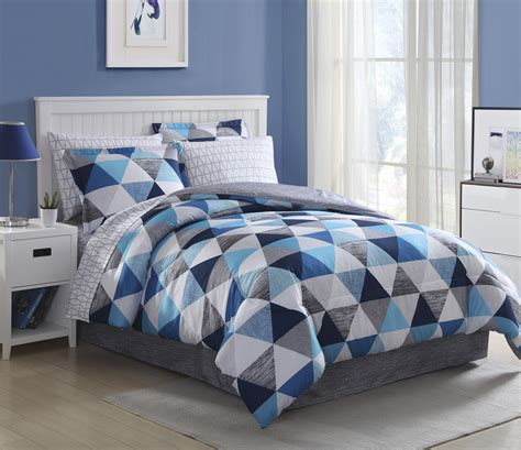 essential home complete bedding set blue triangles