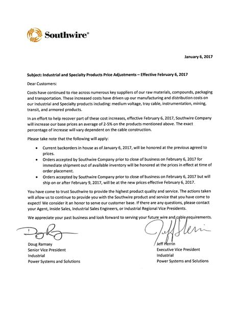 Contract Price Increase Sle Letter Price Increase Letter With Signatures Southwire Blogsouthwire