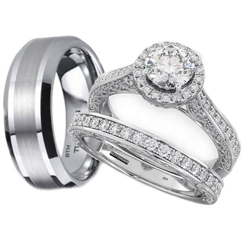 his and hers tungsten 925 sterling silver wedding