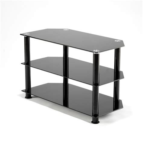 black glass three shelves plasma lcd tv stand 15 32 inch