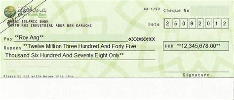 sharia bank accounts cheque writing printing software for pakistan banks