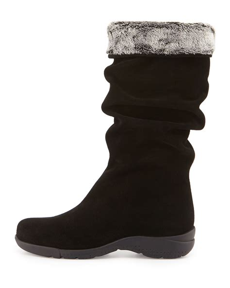 la canadienne trevis slouchy suede boot in black save 61