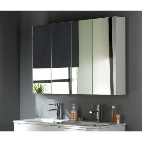 armoire miroir salle de bain 120 cm armoire miroir 120 cm blanc laqu 233 achat vente miroir salle de bain cdiscount
