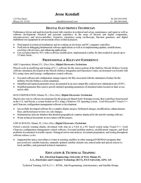 sle technician resume sle resume for electronics engineer 28 images