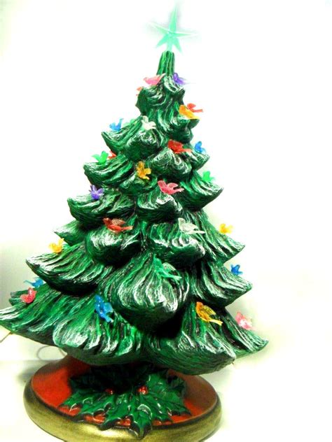 large ceramic christmas tree 16 inches with base hand made