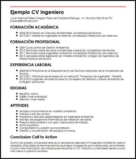 Modelo De Curriculum Vitae Ya Hecho ejemplo cv ingeniero ambiental micvideal