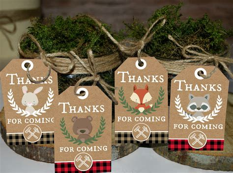 Thank You Favors Baby Shower by Lumberjack Thank You Tags Thank You Favors Woodland
