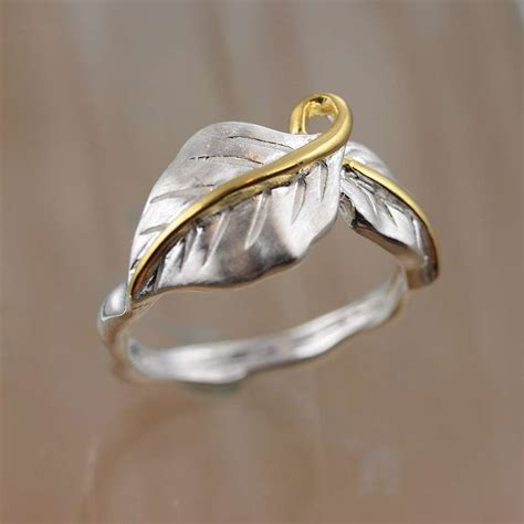 silver ring leaf flower silver band