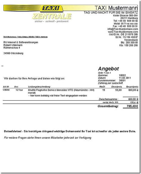 Muster Rechnung Taxi Taxi Kaufmann Software Dta Programm Krankenfahrten