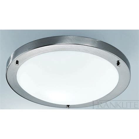 Satin Nickel Ceiling Light Cf1220 Flush Circular Ceiling Light Satin Nickel White Glass Ip44