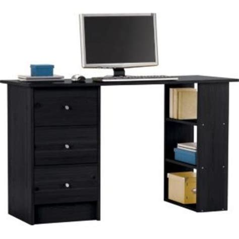 Black Computer Desk Uk Malibu Black 3 Drawer Home Office Computer Desk Table Workstation Desks Cybercheckout Co