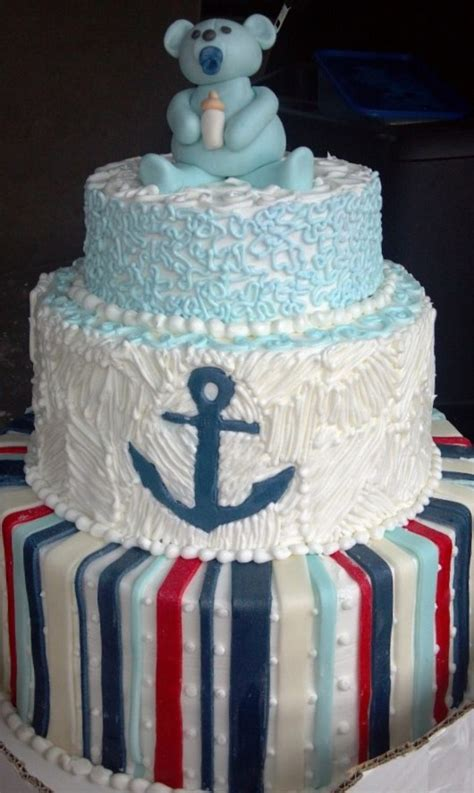 anchor baby shower cake baby shower anchor cake cakecentral