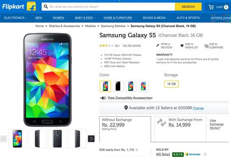 best price galaxy s5 samsung galaxy s5 now available for just rs 14 999