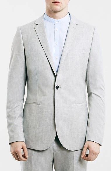 Tshirt Kepala Macan One Clothing topman light grey fit one button suit jacket in