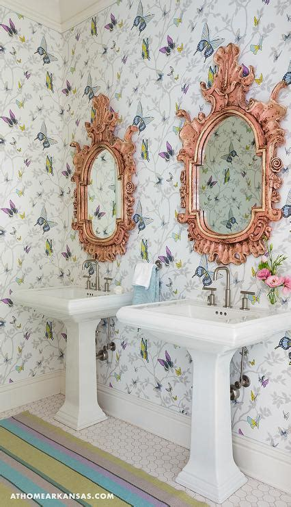 Kids Bathroom with Pink Striped Walls   Transitional