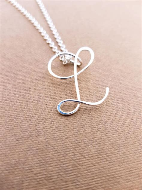 pendant l sterling silver l initial necklace letter l necklace letter