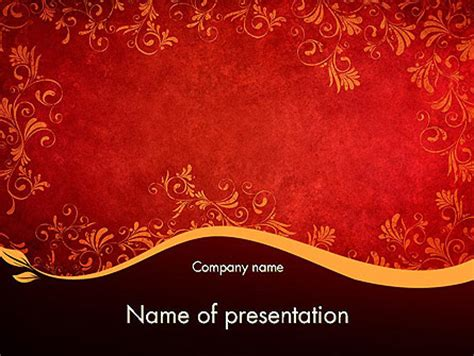 gold slide themes red and gold floral pattern presentation template for