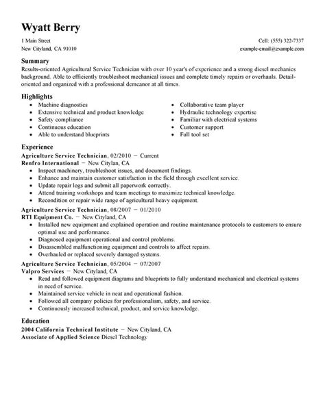service technician resume exle agriculture environment sle resumes livecareer