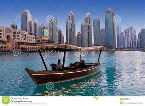 dubai fountain boats dubai uae june 1 driving by wooden boats near dancing