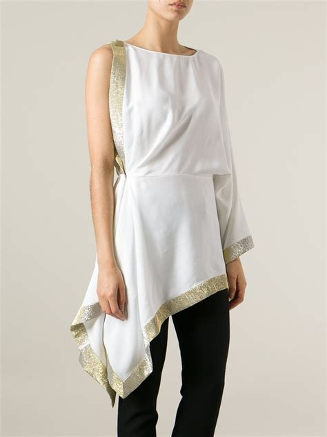 Blouse Asymmetric vionnet asymmetric blouse in white lyst