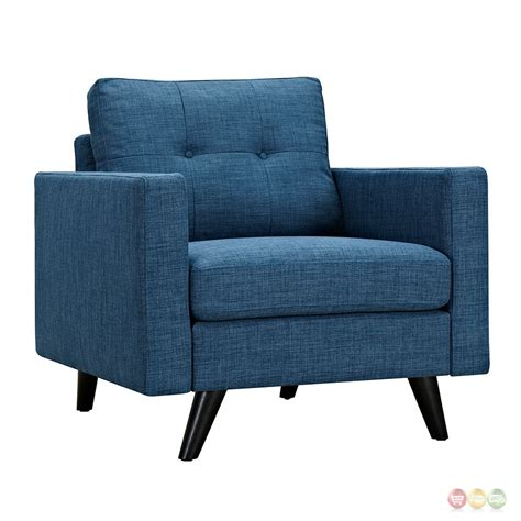 Blue Tufted Armchair Uma Modern Blue Fabric Button Tufted Armchair W Black Finish
