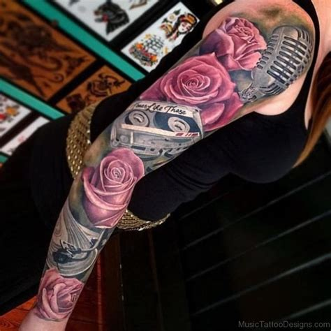 rose and music tattoo 50 great tattoos on arm