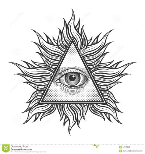 magic tattoo logo vector all seeing eye pyramid symbol in the engraving stock