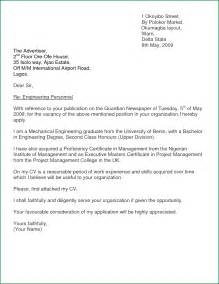 Mechanical Engineering Cover Letter Pdf by Sle Application Letter Mechanical Cover Letter