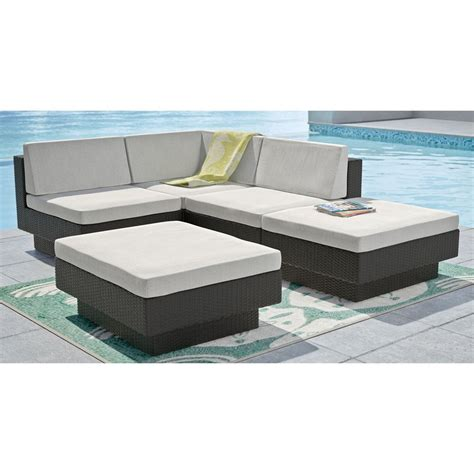 lowes sectional patio furniture corliving park terrace 5 piece sectional patio set lowe