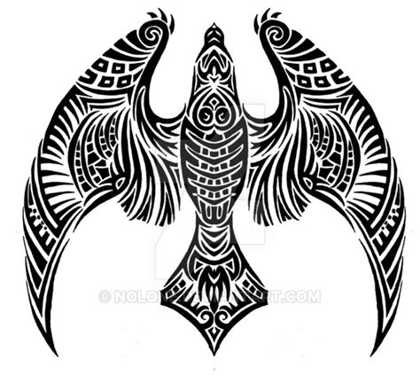 black ink flying hawk tattoo on upper back