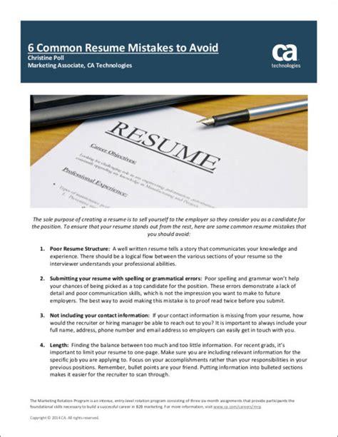 Common Resume Mistakes by 10 Common Resume Mistakes Most Make