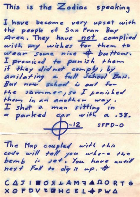 Service Information Letter Zodiac Zodiac Killer Mt Diablo And The Radian Theory