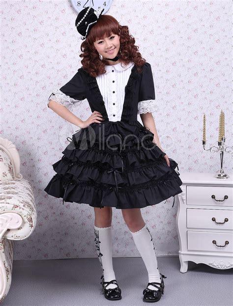 White Lace Black Cotton Dress black and white buttons lace cotton dress