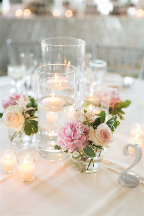 Table Vases For Weddings by Les Fleurs Floating Candle Centerpieces Blush Pink Silver Table Numbers Me