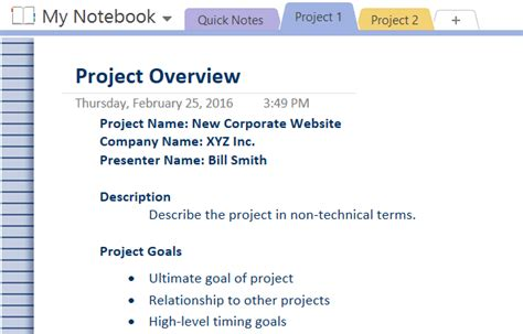 How To Adopt Onenote Templates For Project Management Just Do It Project Template