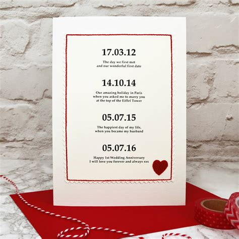 Wedding Anniversary Dates by Special Dates Personalised Anniversary Card By
