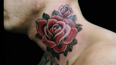 guys with rose tattoos hd tattoos on neck wallpaper free 140171