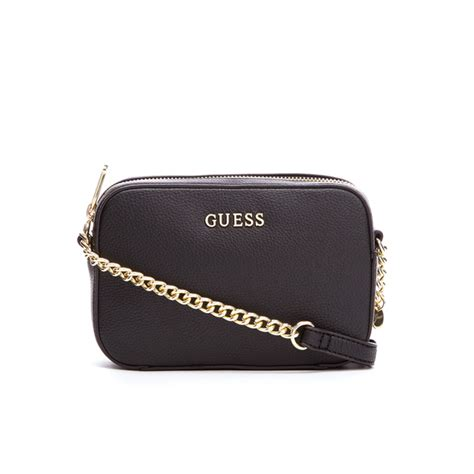 Guess Tas Zwart Goud guess s isabeau mini cross top zip bag black