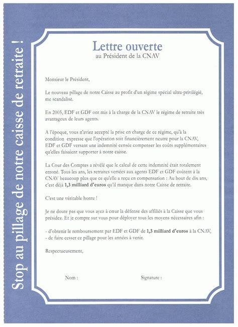 Exemple De Lettre Ouverte Sur La Pollution Le Gouffre De La Cnav Qui Doit Financer Les Retrait 233 S D Edf Gdf