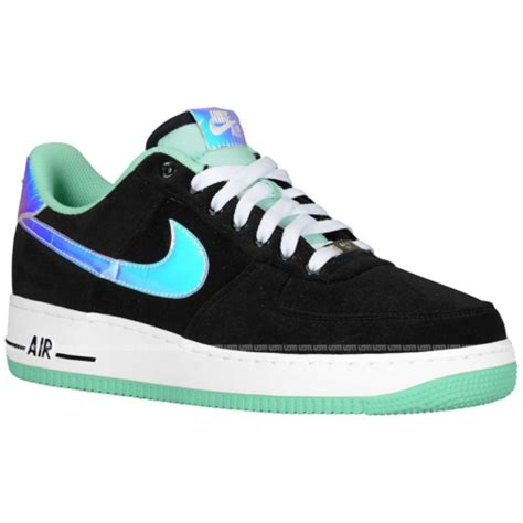 nike air force 1 low 'black/shiny silver green glow