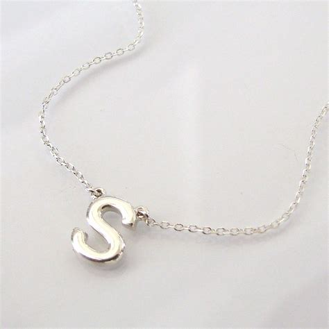 Letter Necklace Silver dainty initial necklace ultra feminine sterling silver