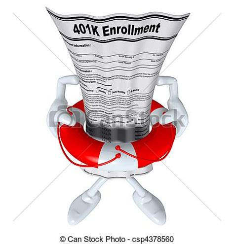 401k form in life preserver . 3d concept and presentation